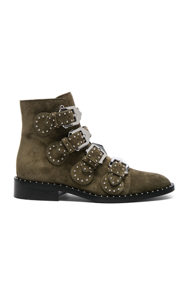 Givenchy Elegant Studded Suede Ankle Boots in Green
