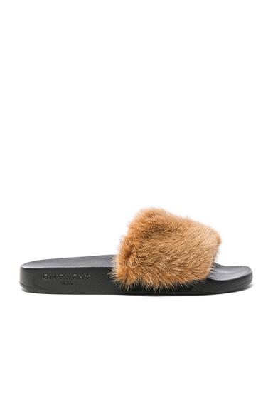 Givenchy Mink Fur Slides in Neutrals