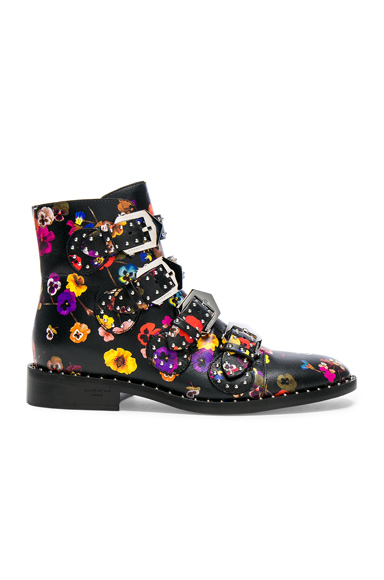 Givenchy Night Pansies Elegant Studded Leather Ankle Boots in Black, Floral