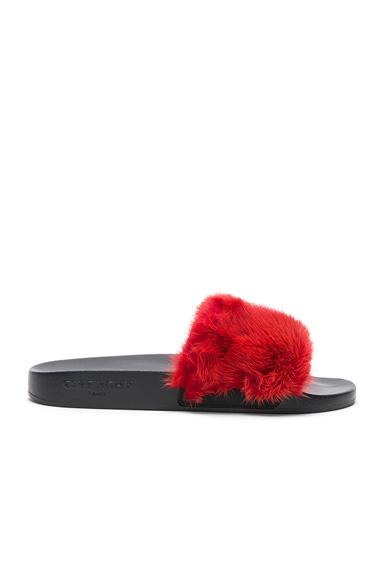 Givenchy Mink Fur Slides in Red