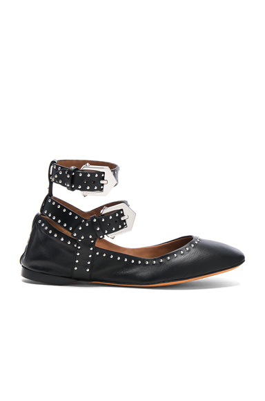 Givenchy Studded Ankle Strap Leather Ballerina Flats in Black