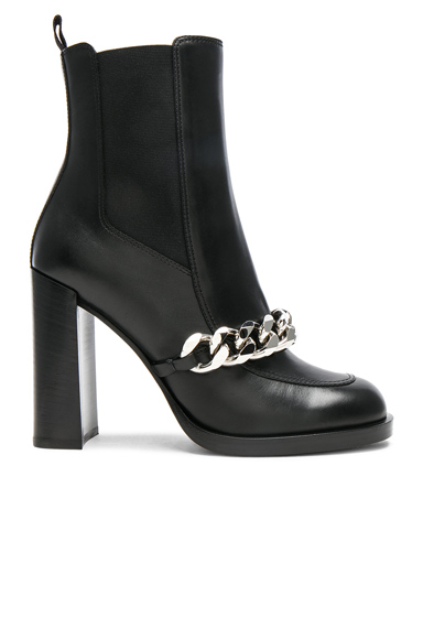 Givenchy Semi Shiny Chain Leather Chelsea Boots in Black