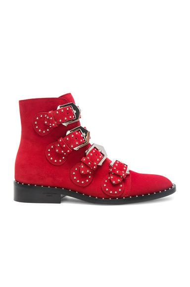 Givenchy Elegant Studded Suede Ankle Boots in Red