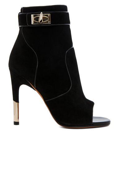 GIVENCHY | Dunke Suede Nappa Shark Lock Bootie in Black