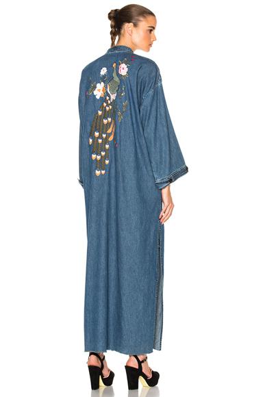 GRLFRND for FWRD Samantha Long Robe in Blue