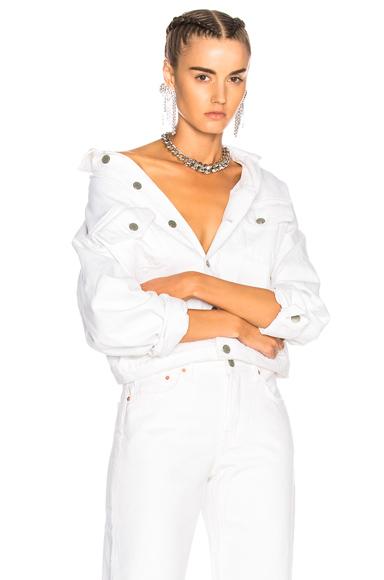 GRLFRND for FWRD Kim Boyfriend Trucker Jacket in White
