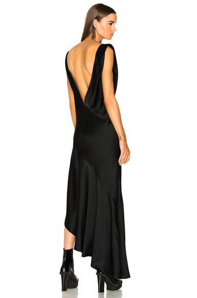 Haider Ackermann Asymmetric Hem V-Neck Dress in Black
