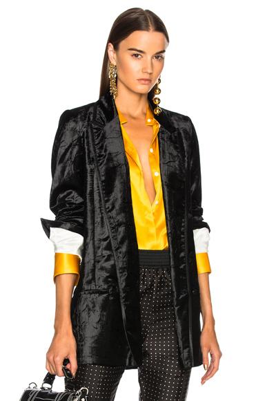Haider Ackermann Double Breasted Velvet Blazer in Black