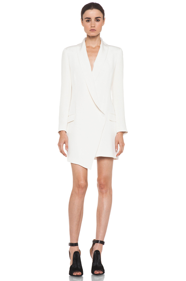 HAUTE HIPPIE | Extra Long Blazer Dress in Ivory