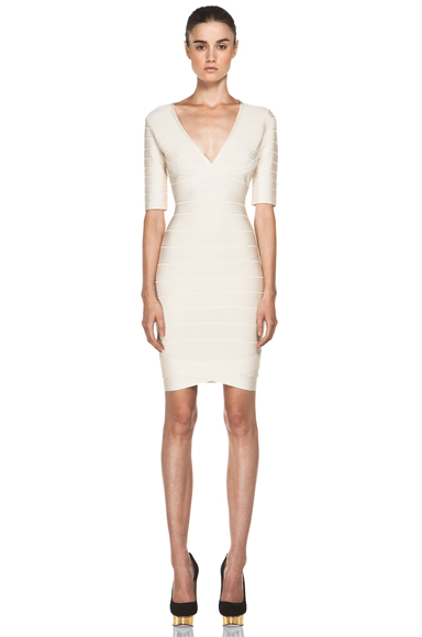HERVE LEGER | V Neck Mid Thigh Dress in Corozo