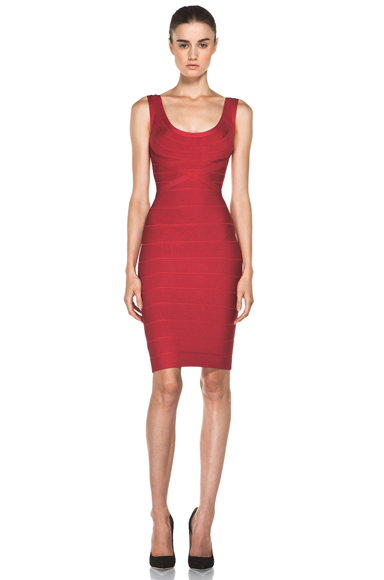 HERVE LEGER | Above the Knee Tank Dress in Rio Red