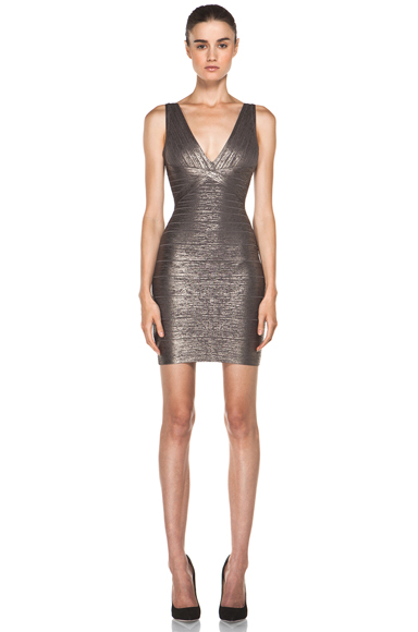 HERVE LEGER | V Neck Mid Thigh Tank Dress in Gunmetal Combo