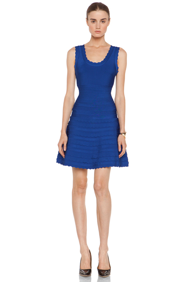 HERVE LEGER | Scalloped Full Skirt Mid Thigh Dress in Blue Sapphire