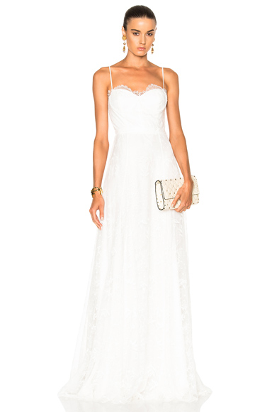 Houghton Katie Lace Slip Dress with Handkerchief Hem in White