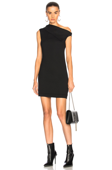 Helmut Lang Asymmetric Mini Dress in Black
