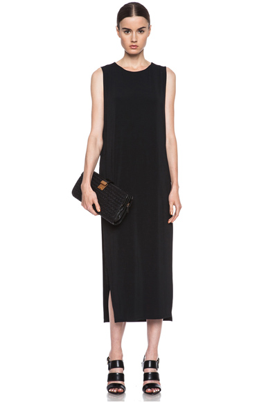 HELMUT LANG | Faint High Slit Viscose-Blend Dress in Black