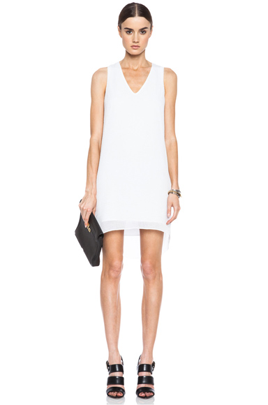 HELMUT LANG | Breeze Side Drape Triacetate-Blend Dress in Soft White
