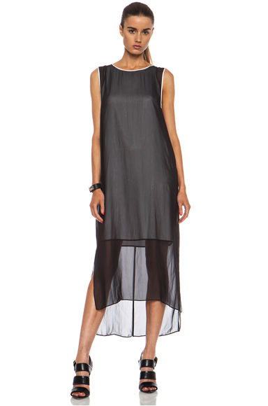 HELMUT LANG | Vanish Double Layer Poly Dress in Black