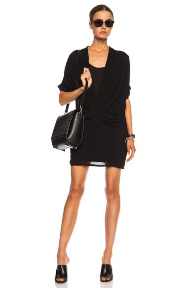 HELMUT LANG | Draped Overlap Viscose Dress in Black