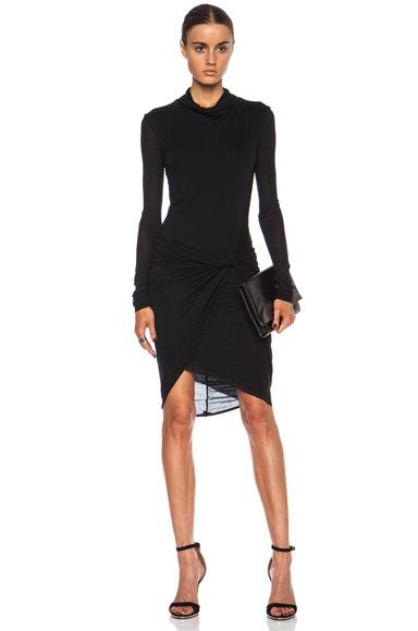 HELMUT LANG | Slack Jersey Twist Long Sleeve Dress in Black