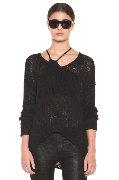 HELMUT LANG | HELMUT Looped Cotton Asymmetrical Pullover in Black