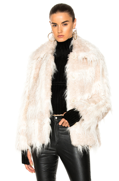 Helmut Lang Shawl Collar Faux Fur Jacket in White