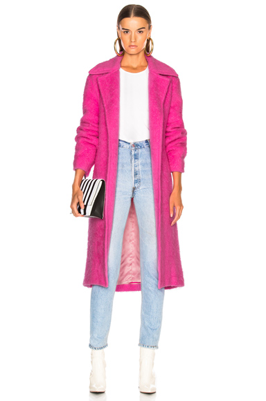 HELMUT LANG | Helmut Lang Nappy Wool Coat In Pink. - Size L (Also In ) | Goxip