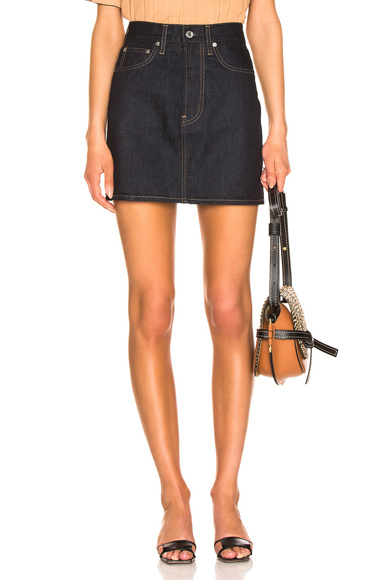 HELMUT LANG | Helmut Lang Femme Mini Skirt In Blue. - Size 30 (Also In 24,25,26,27,28) | Goxip