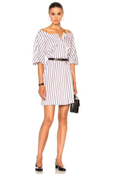 Isa Arfen Full Sleeve Mini Dress in Stripes, White