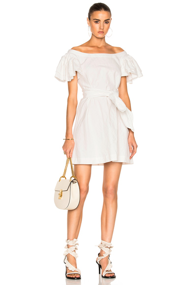 Isa Arfen Frou Frou Sleeves Short Dress in White