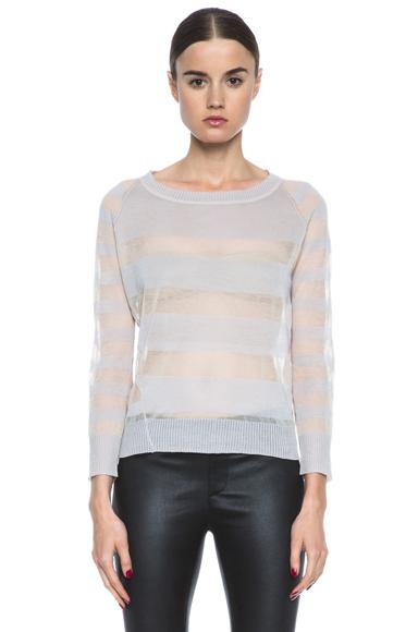 INHABIT | Cotton Sheers Crew Neck Sweater in Freesia