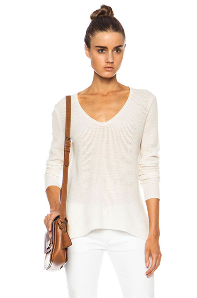 INHABIT | Cashmere Lace V Neck Sweater in Ivory