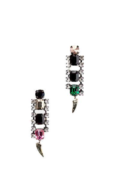 IOSSELLIANI | Rhinestone Earrings in Pink & Green