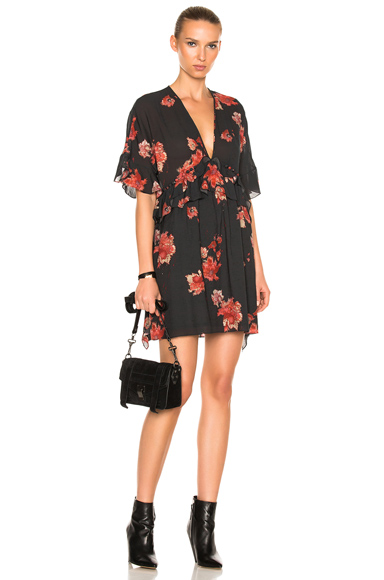 IRO Falal Dress in Black, Floral, Red