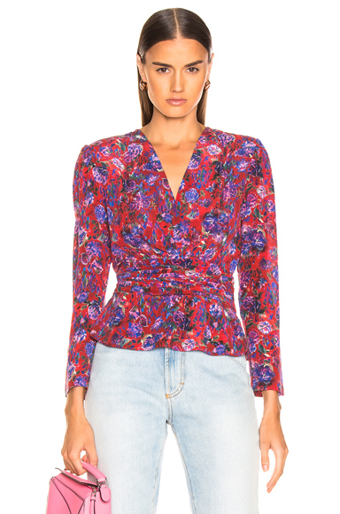 IRIEDAILY | IRO Hurl Top In Floral,Red. - Size 36 (Also In 42) | Goxip