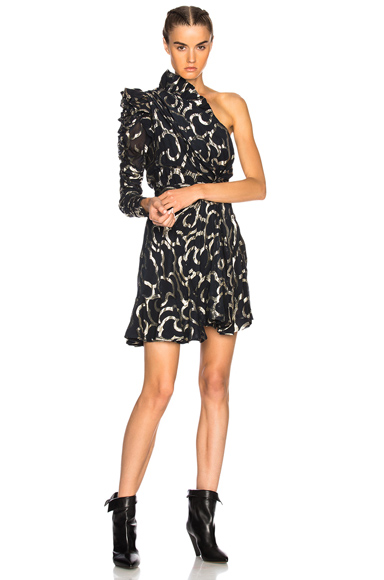 Isabel Marant Clary Dress in Abstract, Black, Metallics