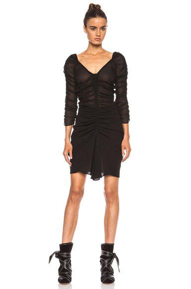 ISABEL MARANT | Carlyn Ruched Silk Georgette Dress in Black