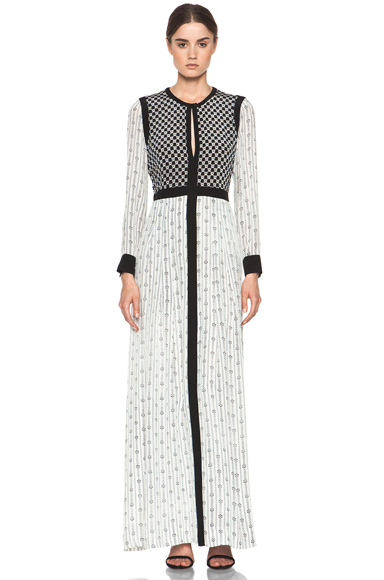 ISABEL MARANT | Melissande Striped Silk Crepe Maxi Dress in Off White