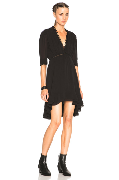Isabel Marant Silk & Lace Quidor Dress in Black