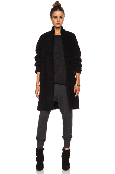 ISABEL MARANT | Gabriel Herringbone Wool-Blend Coat in Black