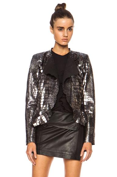 ISABEL MARANT | Rami Shiny Leather Jacket in Silver