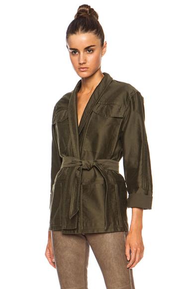 ISABEL MARANT | John Cotton Satin Robe Wrap Jacket in Khaki