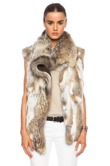 ISABEL MARANT | Astia Steppe Fur Vest in Beige