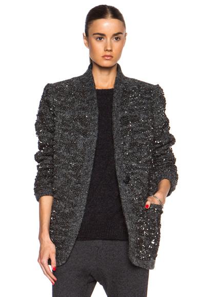 ISABEL MARANT | Ta Sequin Over Wool-Blend Jacket in Gunmetal
