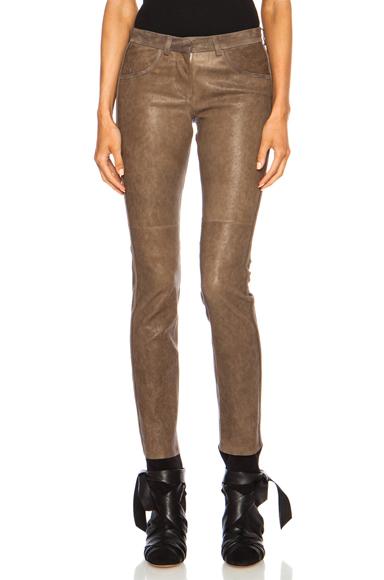 ISABEL MARANT | Dana Stretch Leather Pant in Moleskin Brown
