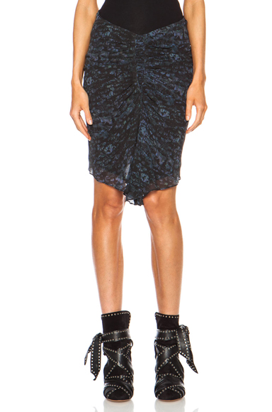 ISABEL MARANT | Canelli Printed Georgette Ruched Silk Skirt in Midnight