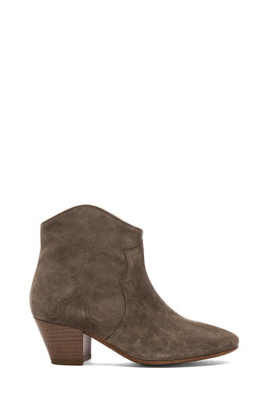 ISABEL MARANT | Dicker Calfskin Velvet Leather Boots in Taupe