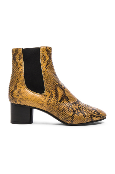 Isabel Marant Danae Printed Python Booties in Yellow, Animal