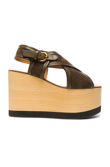 Photo of Isabel Marant Suede Zlova Wedge Sandals in Brown online womens shoes sales