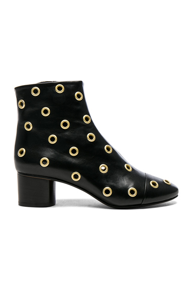 Photo of Isabel Marant Eyelet Leather Danay Ankle Boots in Black online womens shoes sales